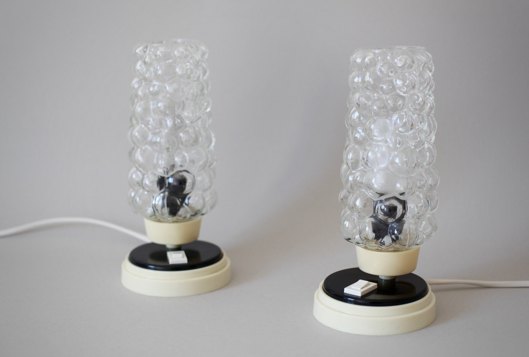 Mid century bedside lamps with bubble glass shades set of for Glass bedside lamp shades