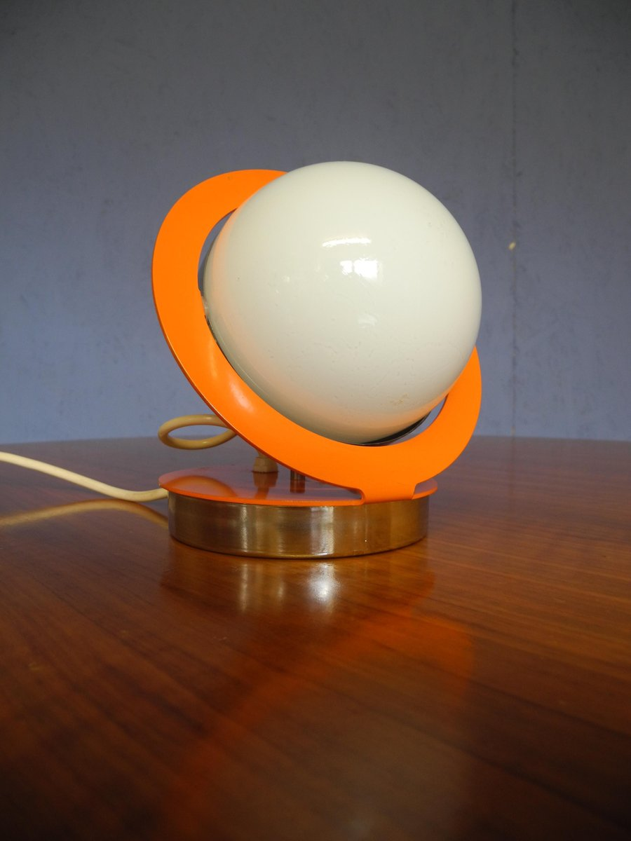 mid century spherical orange space age saturn lamp with metal frame for sale at pamono. Black Bedroom Furniture Sets. Home Design Ideas