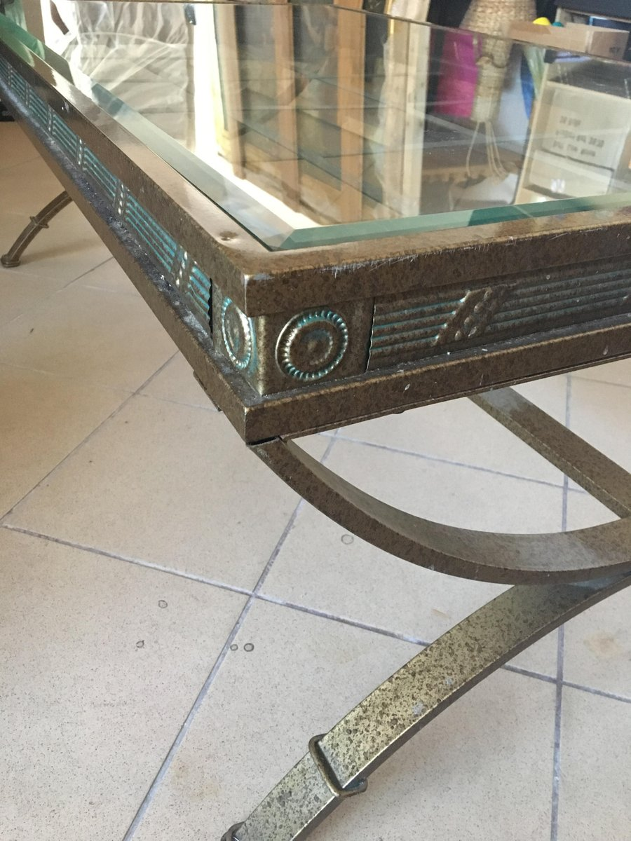 Glass coffee table with metal frame 1980s for sale at pamono for Metal frame glass coffee table
