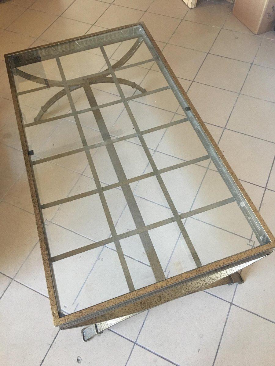 couchtisch aus glas mit metall rahmen 1980er bei pamono. Black Bedroom Furniture Sets. Home Design Ideas