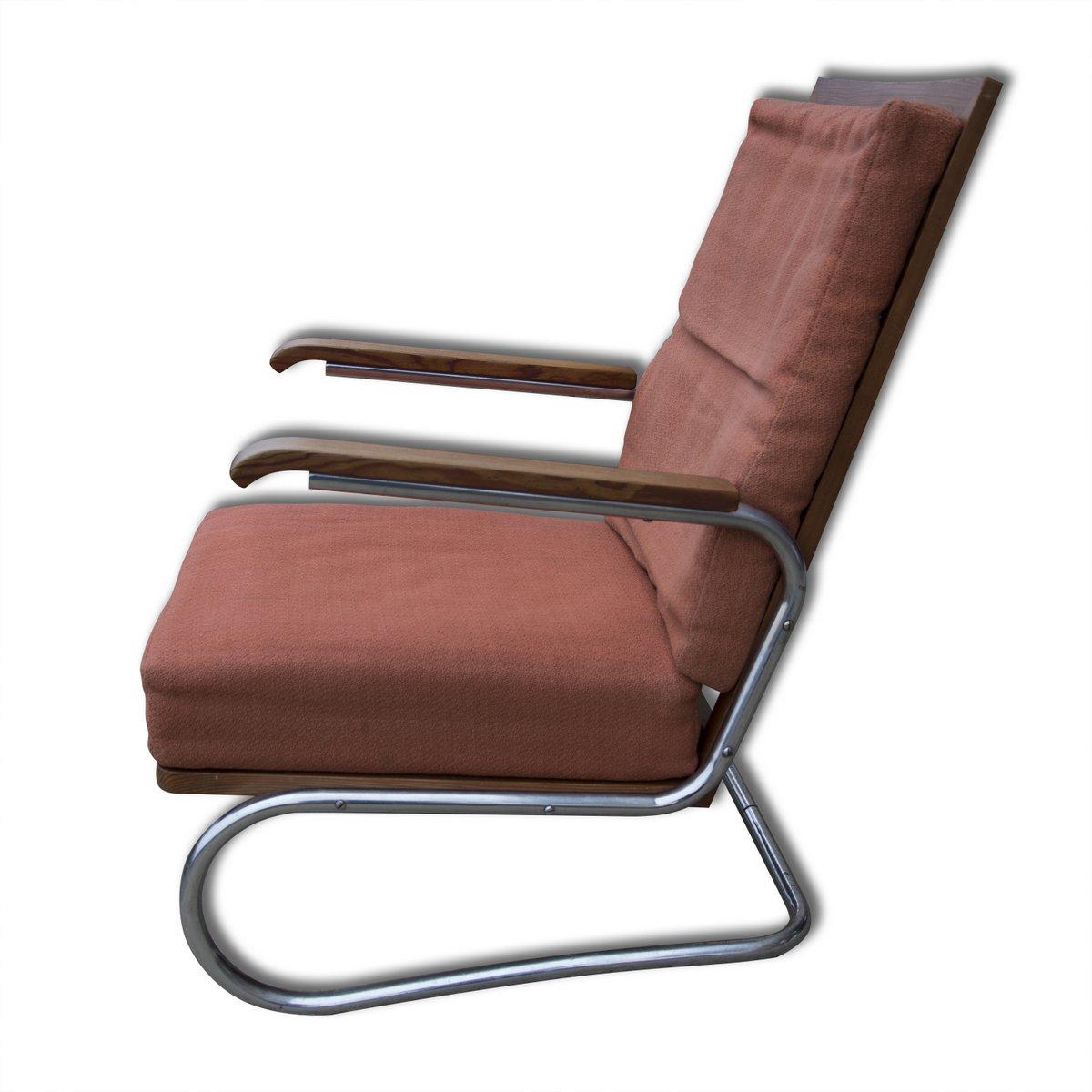 freischwinger stahlrohr armlehnstuhl 1930er bei pamono kaufen. Black Bedroom Furniture Sets. Home Design Ideas