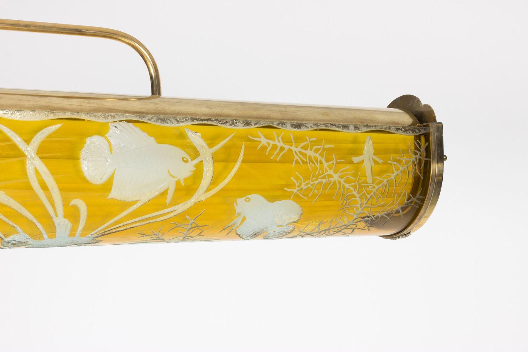schwedische deckenlampe aus glas und messing 1940er bei. Black Bedroom Furniture Sets. Home Design Ideas