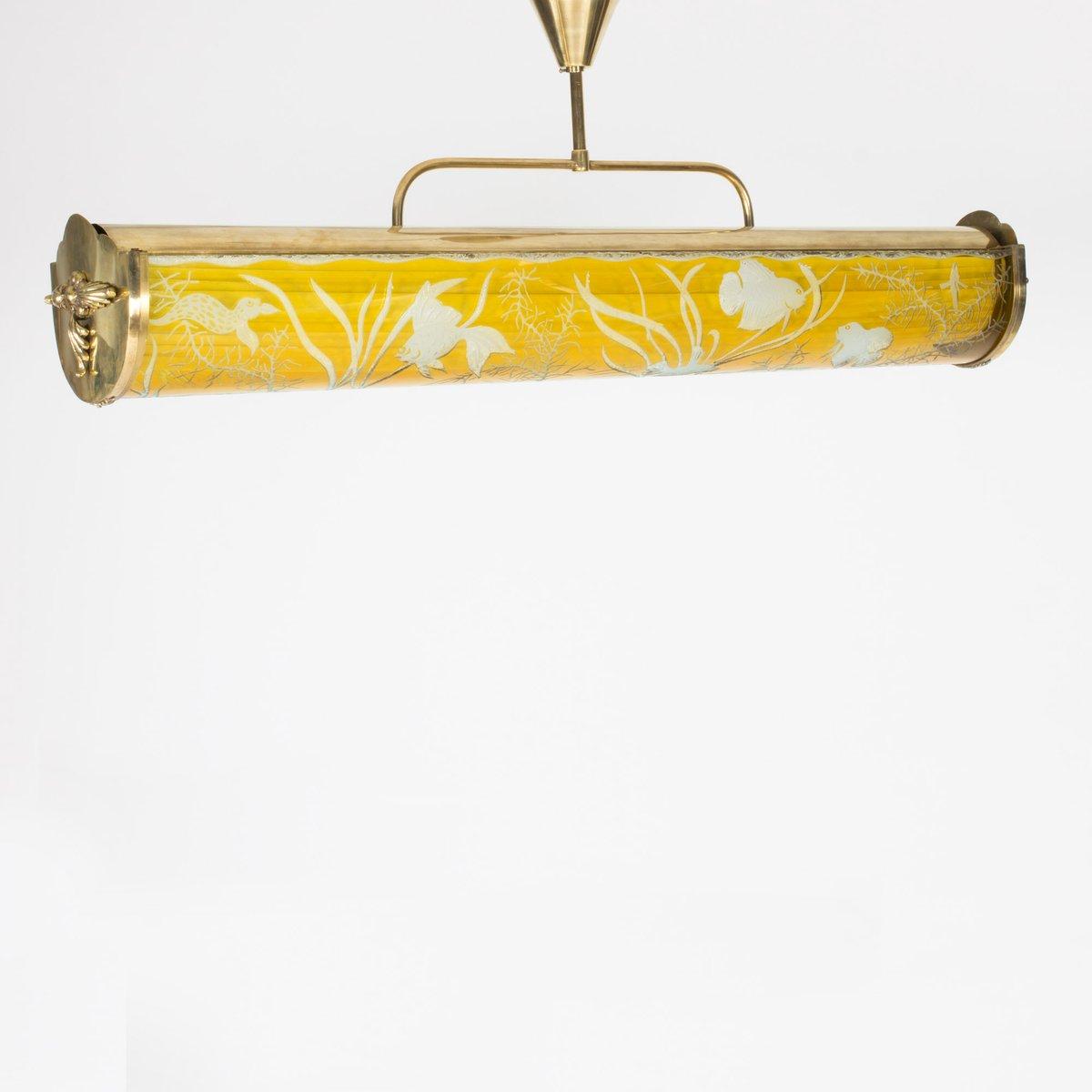 schwedische deckenlampe aus glas und messing 1940er bei pamono kaufen. Black Bedroom Furniture Sets. Home Design Ideas