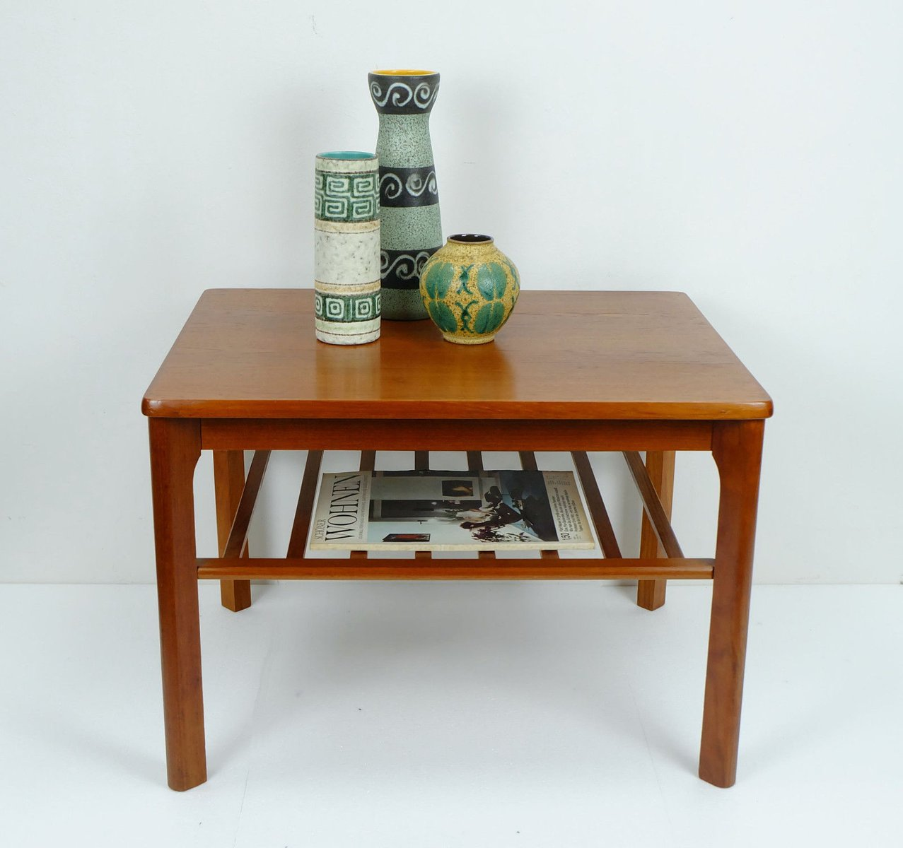 Mid Century Scandinavian Teak Side Table With Magazine Rack