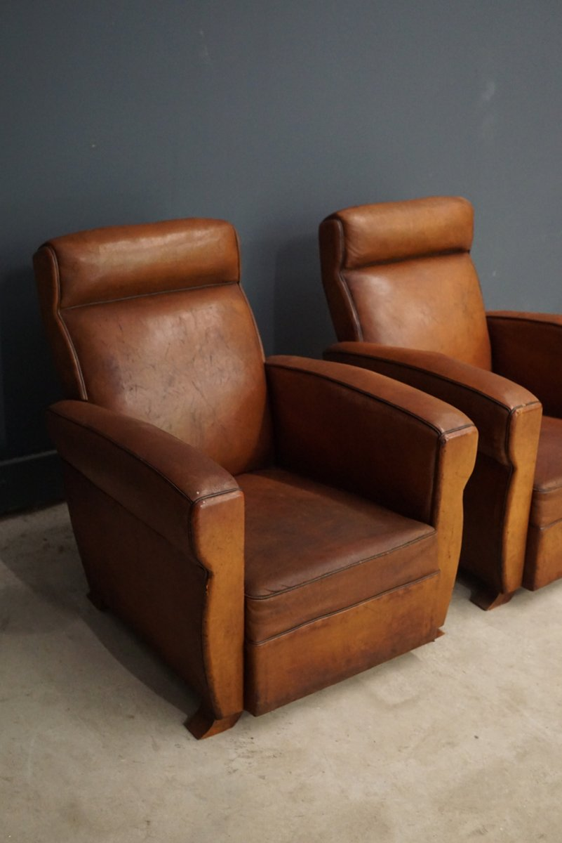 French Cognac Leather Club Chairs 1940s Set Of 2 For