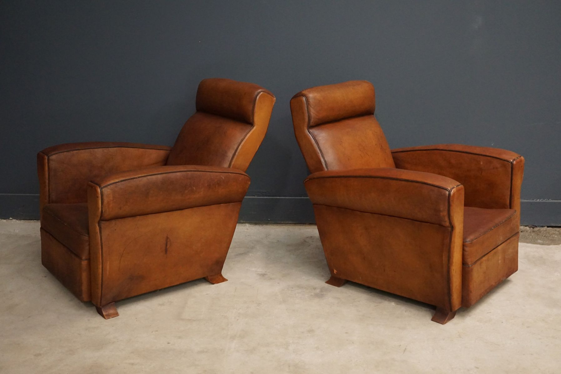 French Cognac Leather Club Chairs 1940s Set of 2 for sale at Pamono