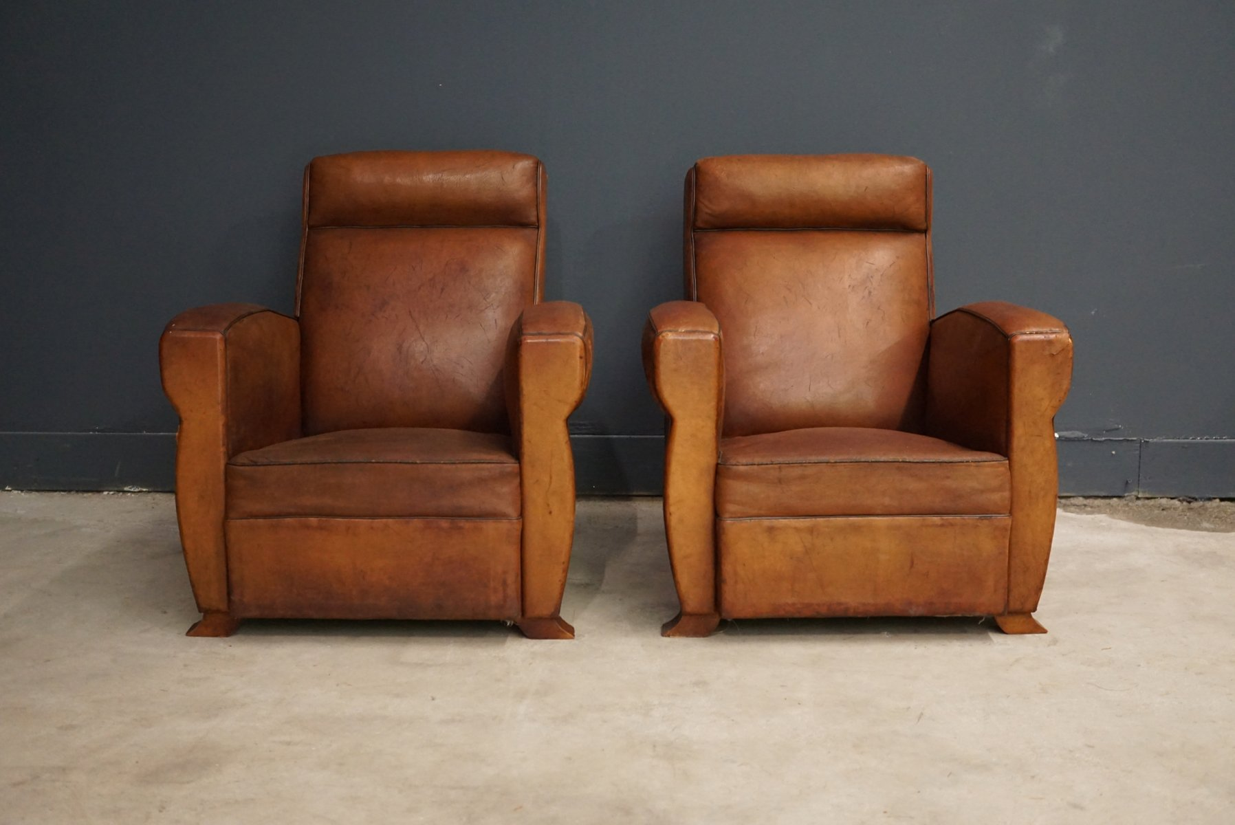 french cognac leather club chairs 1940s set of 2 for. Black Bedroom Furniture Sets. Home Design Ideas