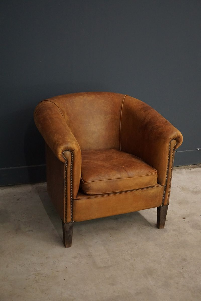 vintage french cognac leather club chair for sale at pamono. Black Bedroom Furniture Sets. Home Design Ideas