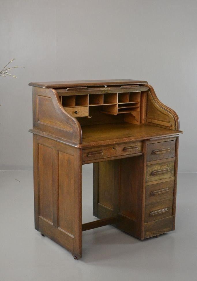 vintage tambour tisch aus eiche bei pamono kaufen. Black Bedroom Furniture Sets. Home Design Ideas