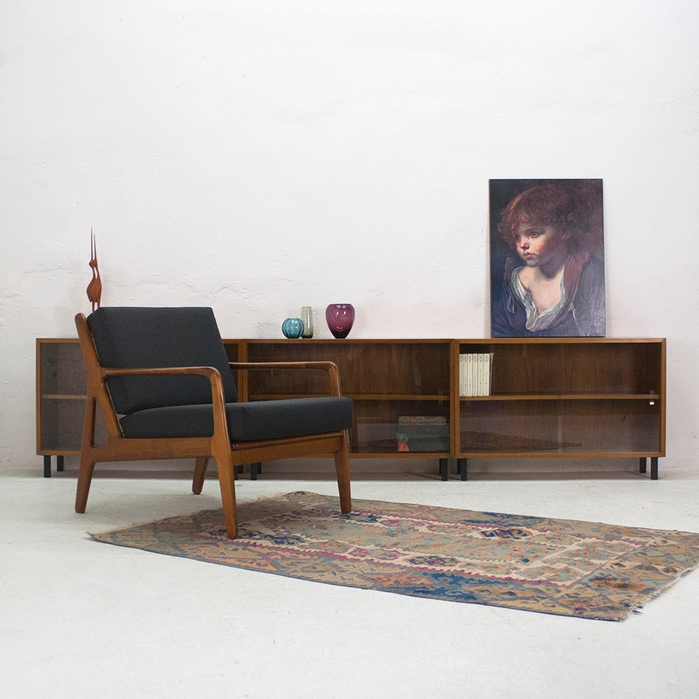 walnut showcase from wk m bel 1960s for sale at pamono. Black Bedroom Furniture Sets. Home Design Ideas