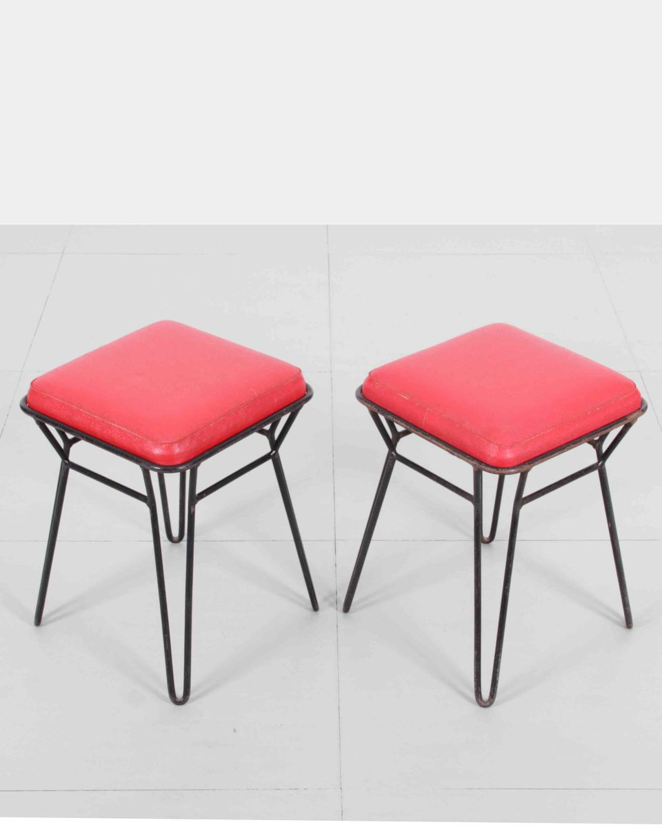 polnische metall hocker 1950er 2er set bei pamono kaufen. Black Bedroom Furniture Sets. Home Design Ideas