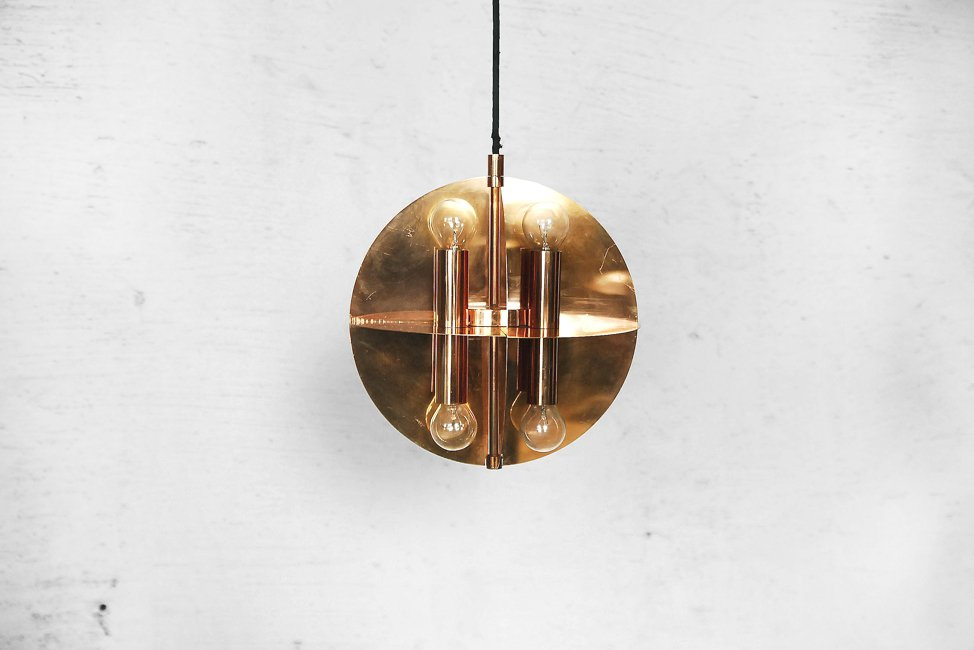 goldene kupfer h ngelampe mit 8 leuchten 1970er bei pamono kaufen. Black Bedroom Furniture Sets. Home Design Ideas