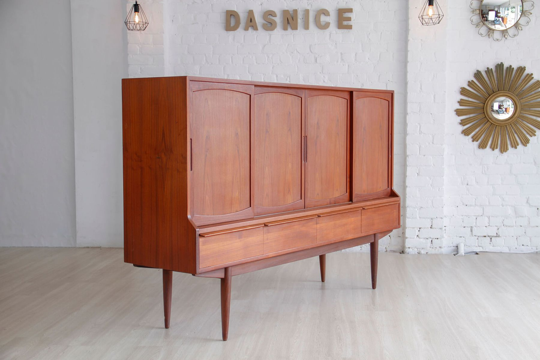 vintage 235 danish highboard in teak by henning kj rnulf. Black Bedroom Furniture Sets. Home Design Ideas