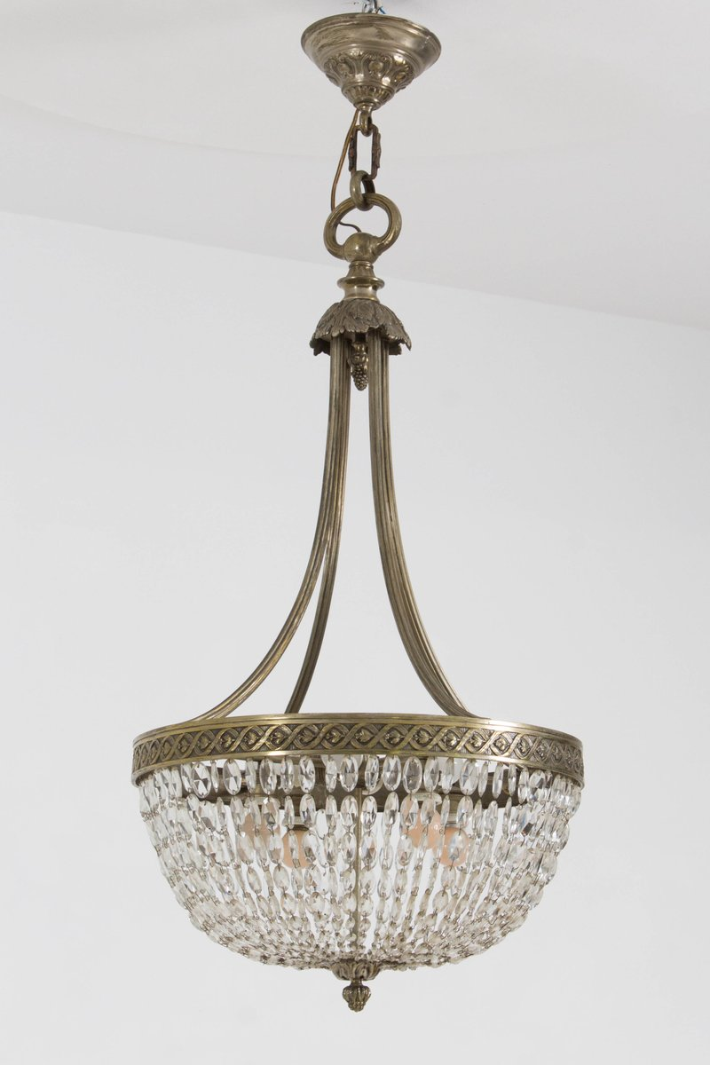 French Art Deco Crystal Chandelier 1930s For Sale At Pamono