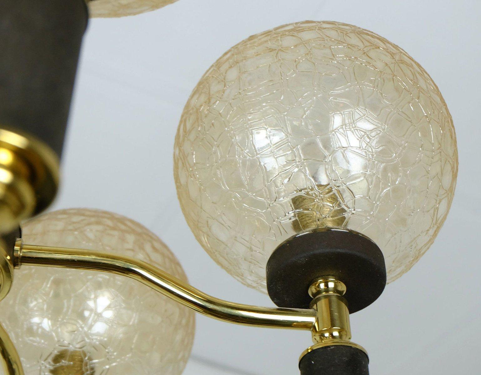 h ngelampe mit 5 bernsteinfarbene glaskugeln 1960er bei pamono kaufen. Black Bedroom Furniture Sets. Home Design Ideas