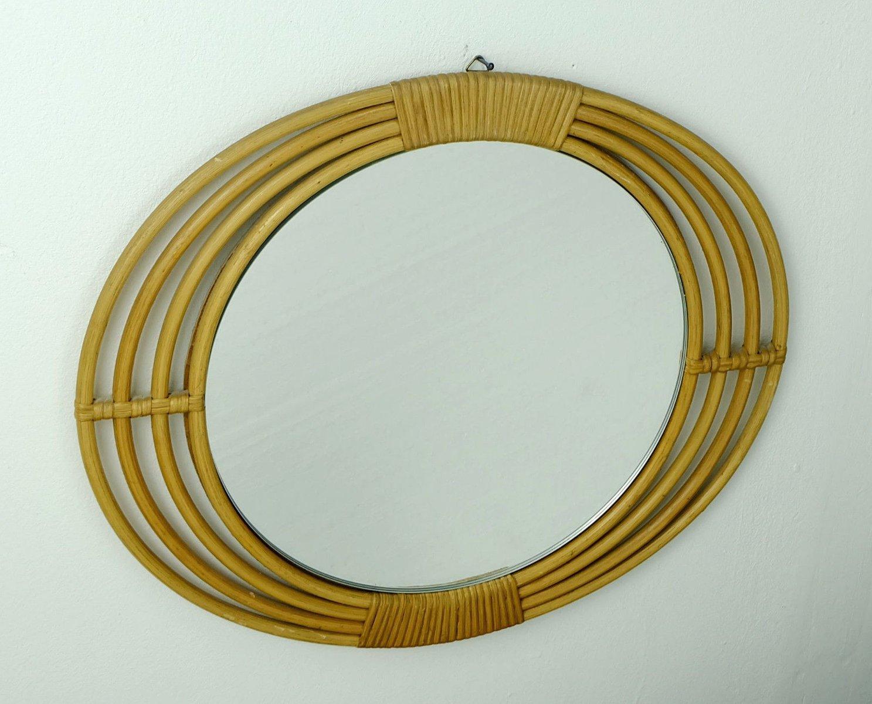 mid century wandspiegel mit ovalem rattan rahmen bei. Black Bedroom Furniture Sets. Home Design Ideas