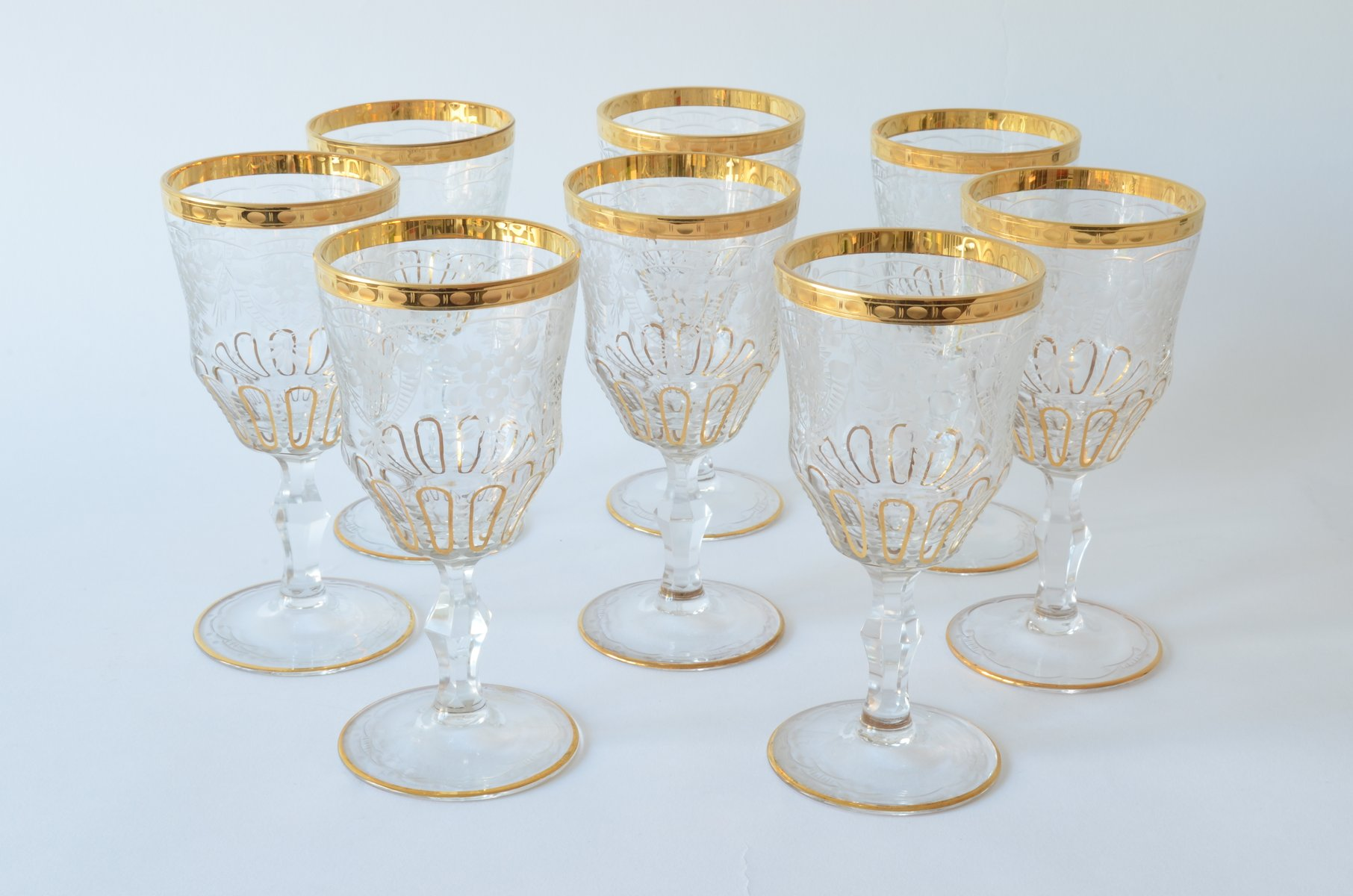 Vintage Bohemian Hand Blown White Wine Glasses With Gold
