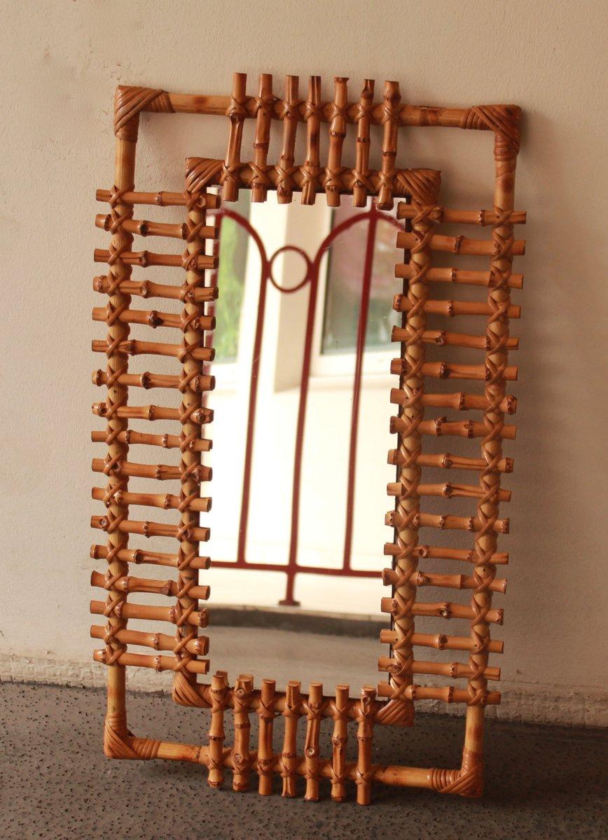 vintage spiegel mit rattan rahmen bei pamono kaufen. Black Bedroom Furniture Sets. Home Design Ideas