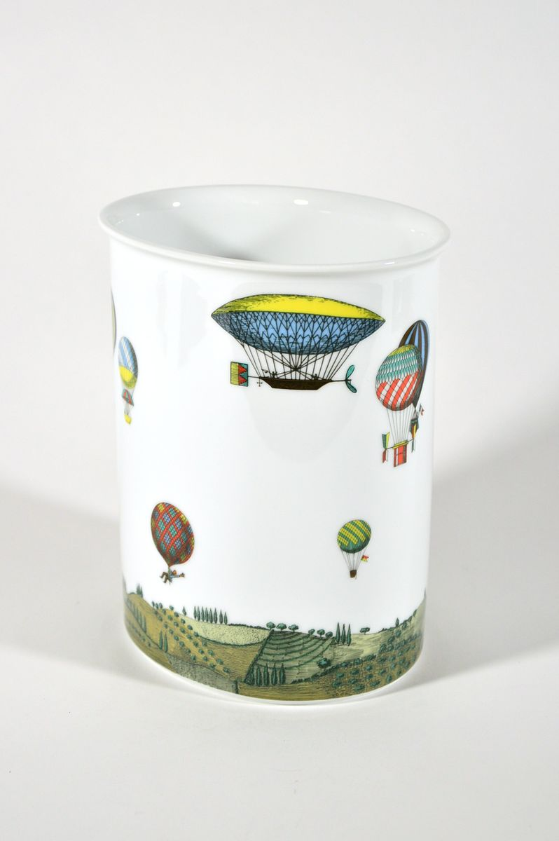 Vintage Vase With Hot Air Balloon Decor By Piero