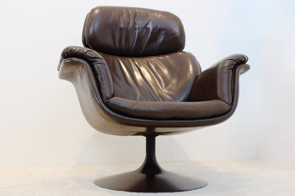 dutch original f545 leather big tulip chair by pierre paulin for artifort holland 1970s for. Black Bedroom Furniture Sets. Home Design Ideas