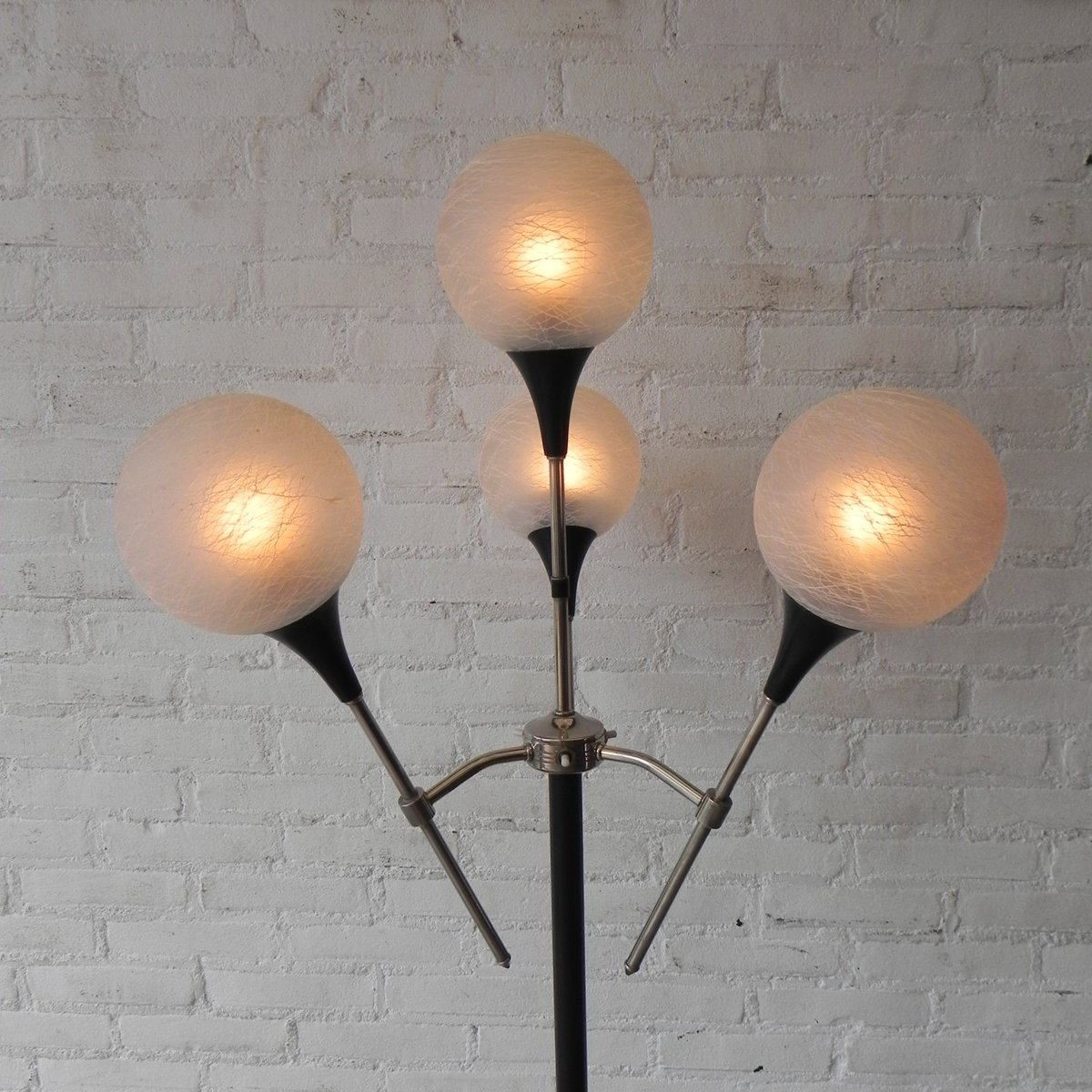 Vintage French Floor Lamp with 4 Glass Spheres for sale at Pamono