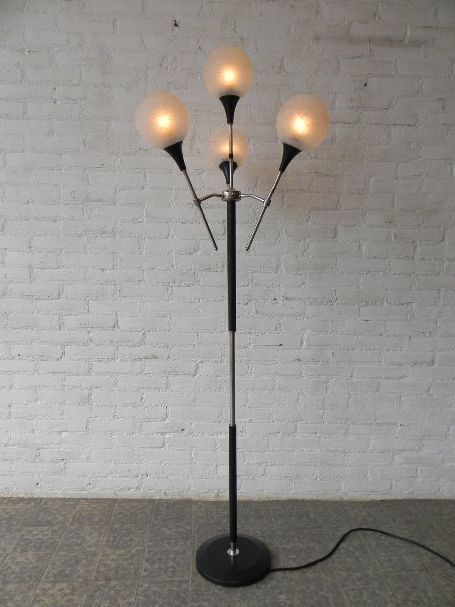 Vintage french floor lamp with 4 glass spheres for sale at for 4 bulb antique floor lamp