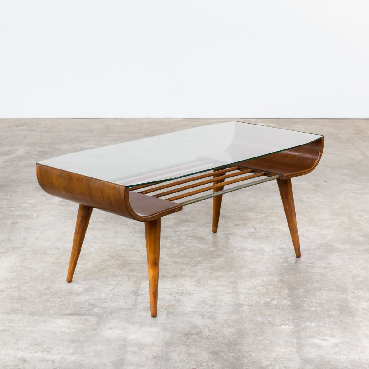 Vintage Plywood Glass Coffee Table By Cor Alons For Gouda Den Boer For Sale At Pamono