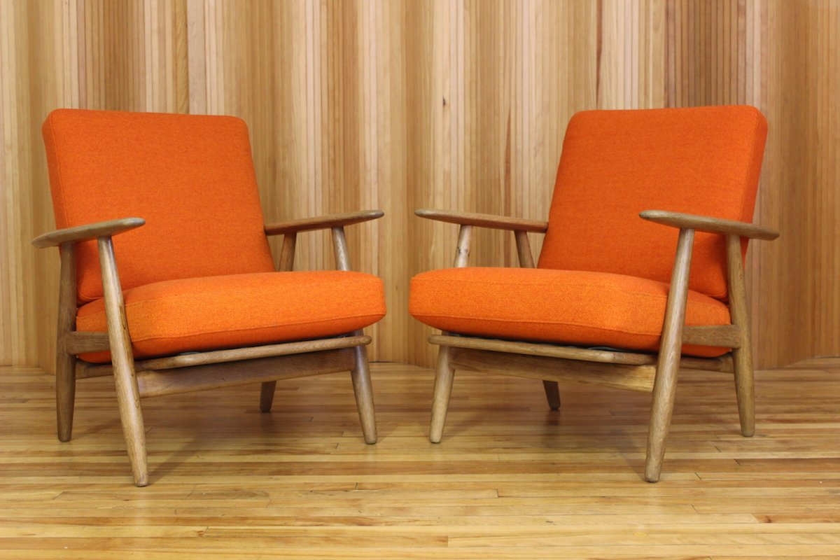 Danish GE-240 Oak Cigar Lounge Chairs by Hans Wegner for Getama, 1955, - Cigar Lounge Chairs Holiday Design