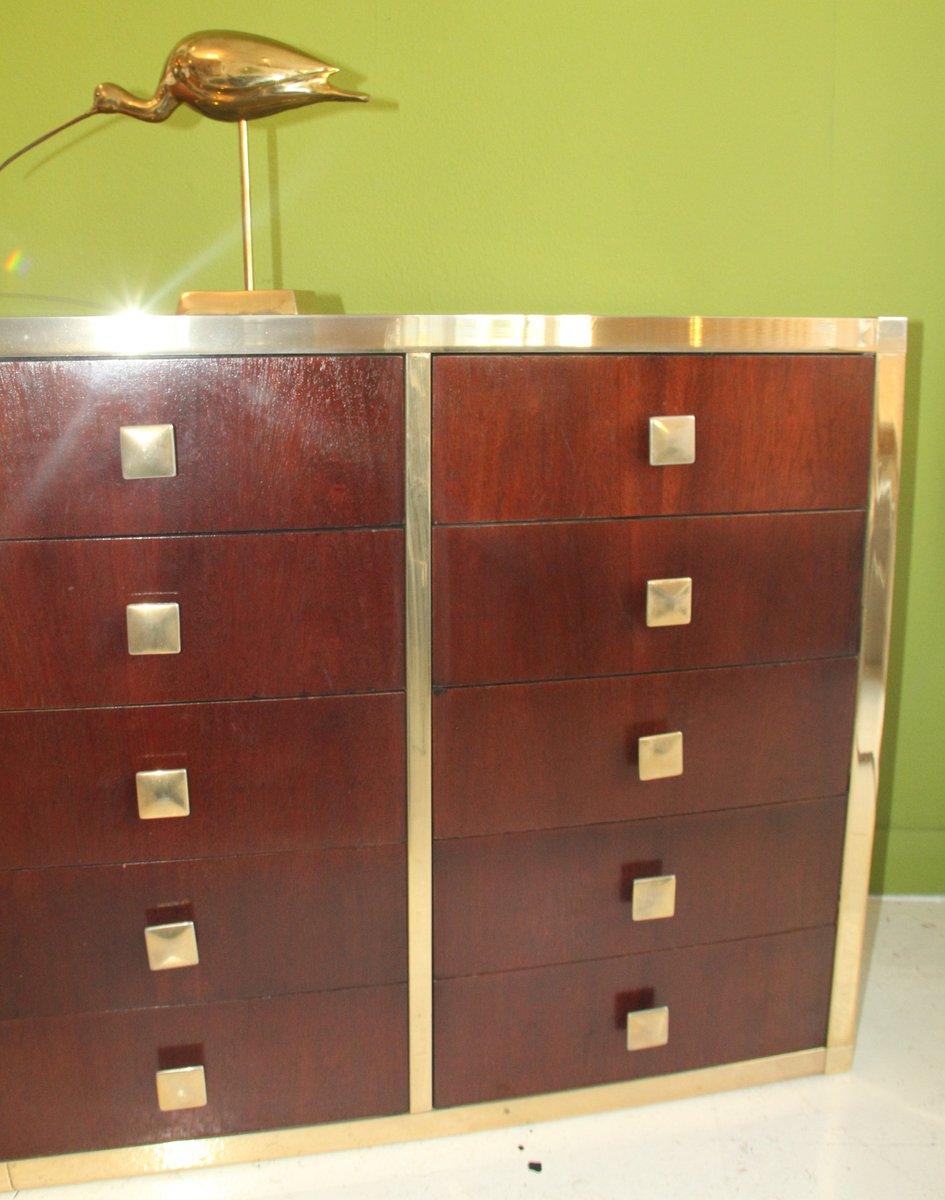 italienische vintage kommode aus teak und spiegelglas bei. Black Bedroom Furniture Sets. Home Design Ideas