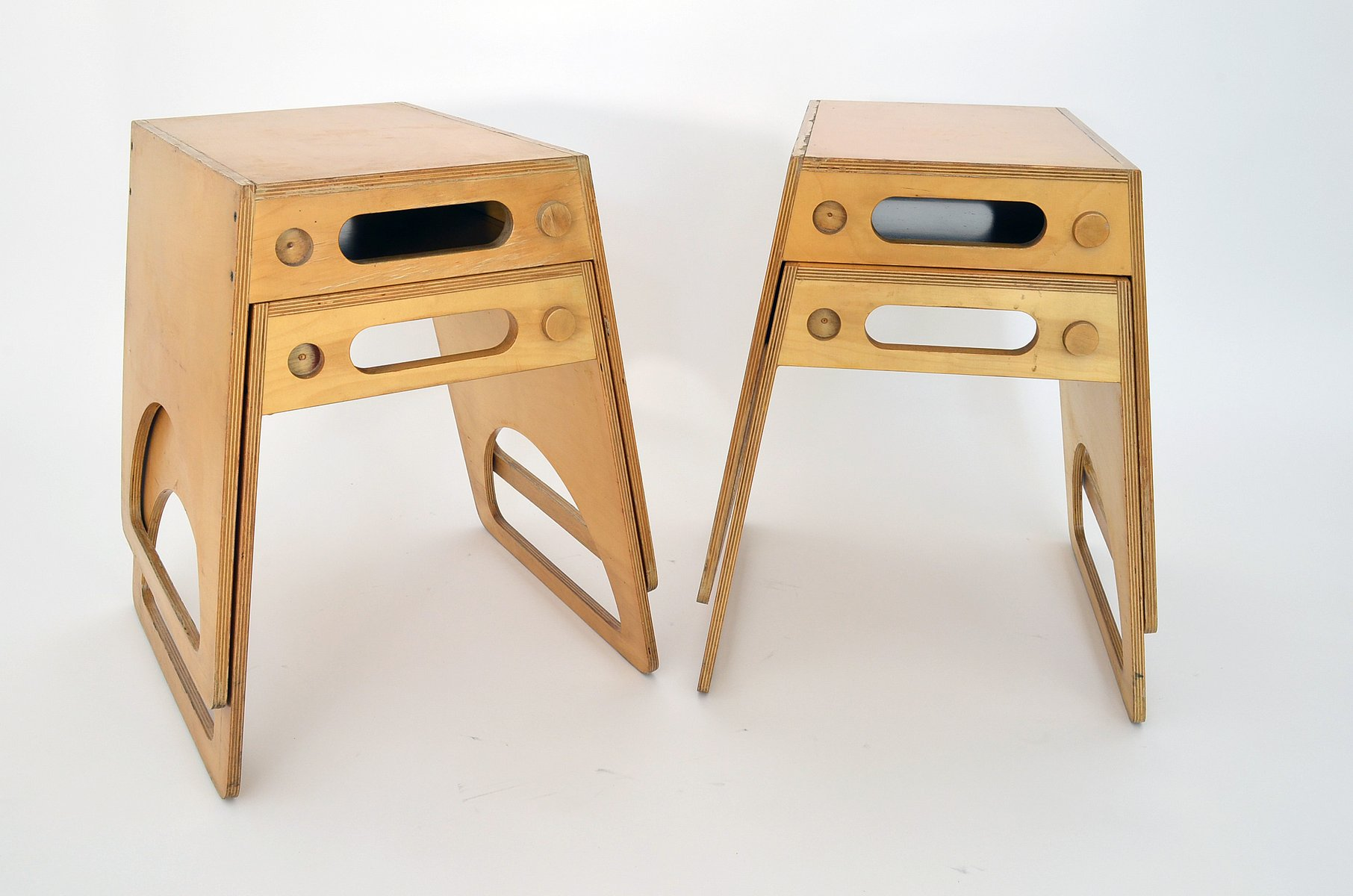 vintage stackable stools in plywood by alberto paoli set of  for  - vintage stackable stools in plywood by alberto paoli set of