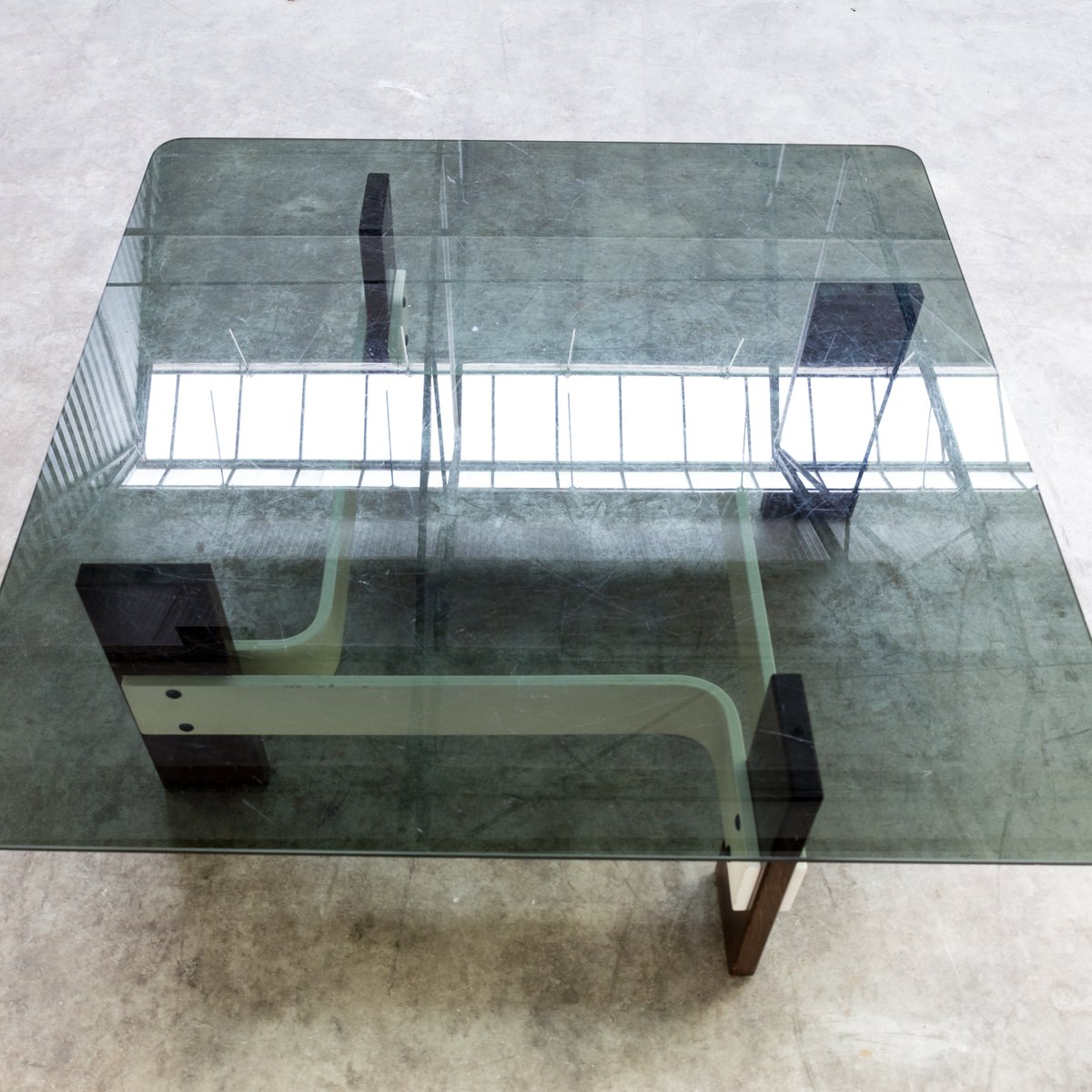 Vintage Square Coffee Table With Smoked Glass Table Top 1970s For Sale At Pamono