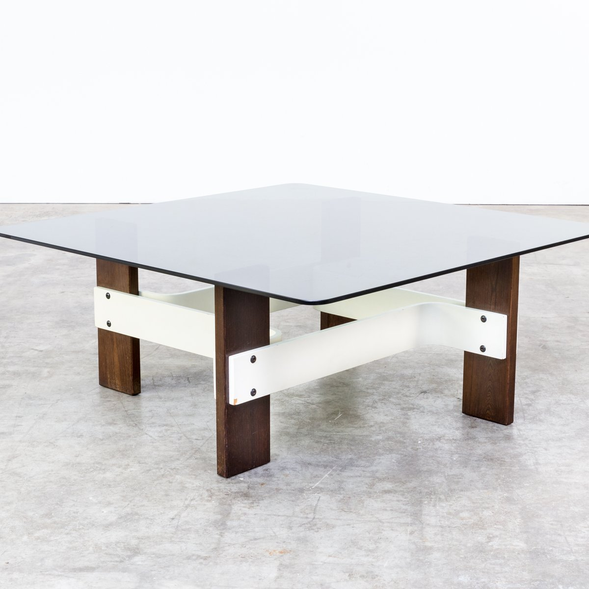 vintage square coffee table with smoked glass table top. Black Bedroom Furniture Sets. Home Design Ideas
