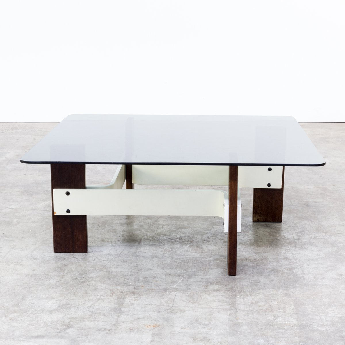 Vintage Square Coffee Table with Smoked Glass Table Top 1970s for