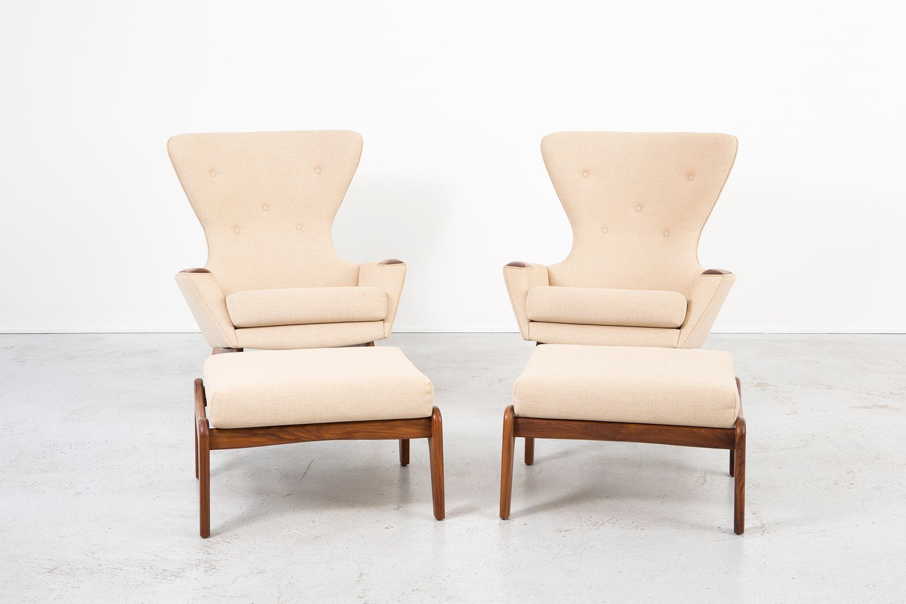 Vintage 2231 C Wingback Chairs With Ottomans by Adrian Pearsall
