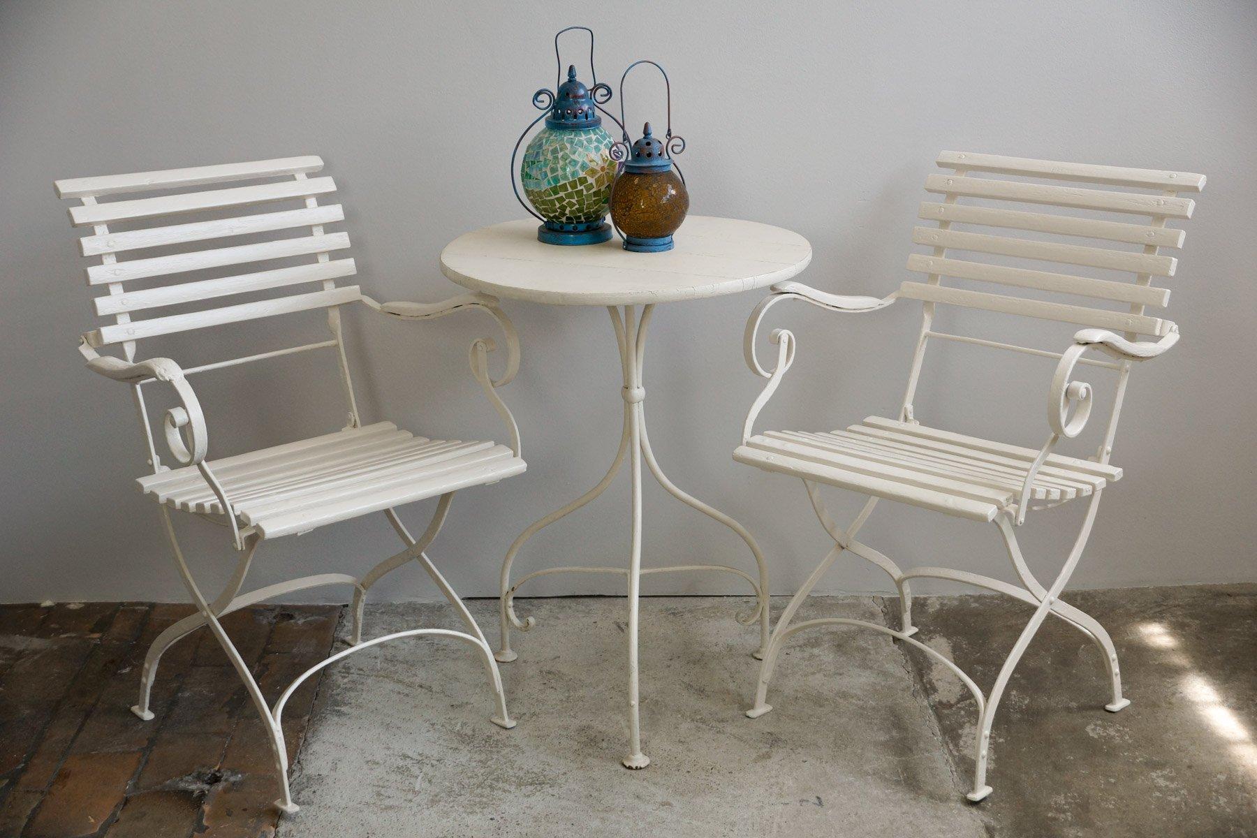 gartentisch aus holz und eisen 1900er bei pamono kaufen. Black Bedroom Furniture Sets. Home Design Ideas