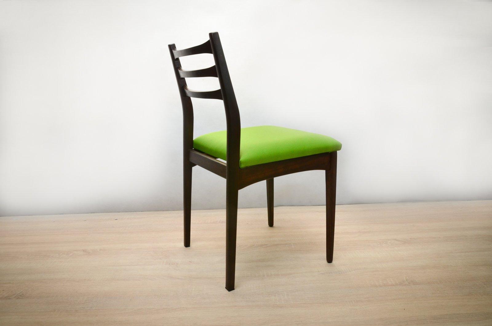gr ne teak st hle 1970er 4er set bei pamono kaufen. Black Bedroom Furniture Sets. Home Design Ideas