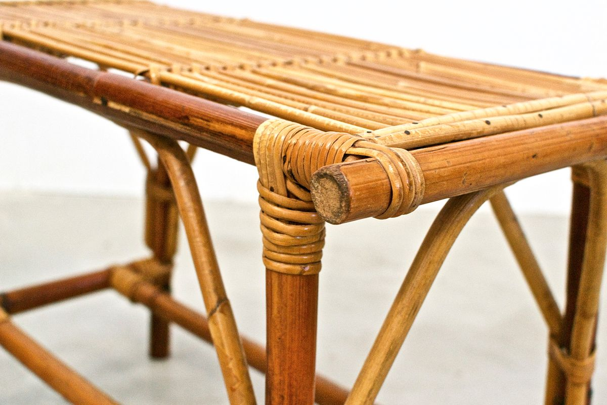 table de jardin basse mid century en osier en vente sur pamono. Black Bedroom Furniture Sets. Home Design Ideas