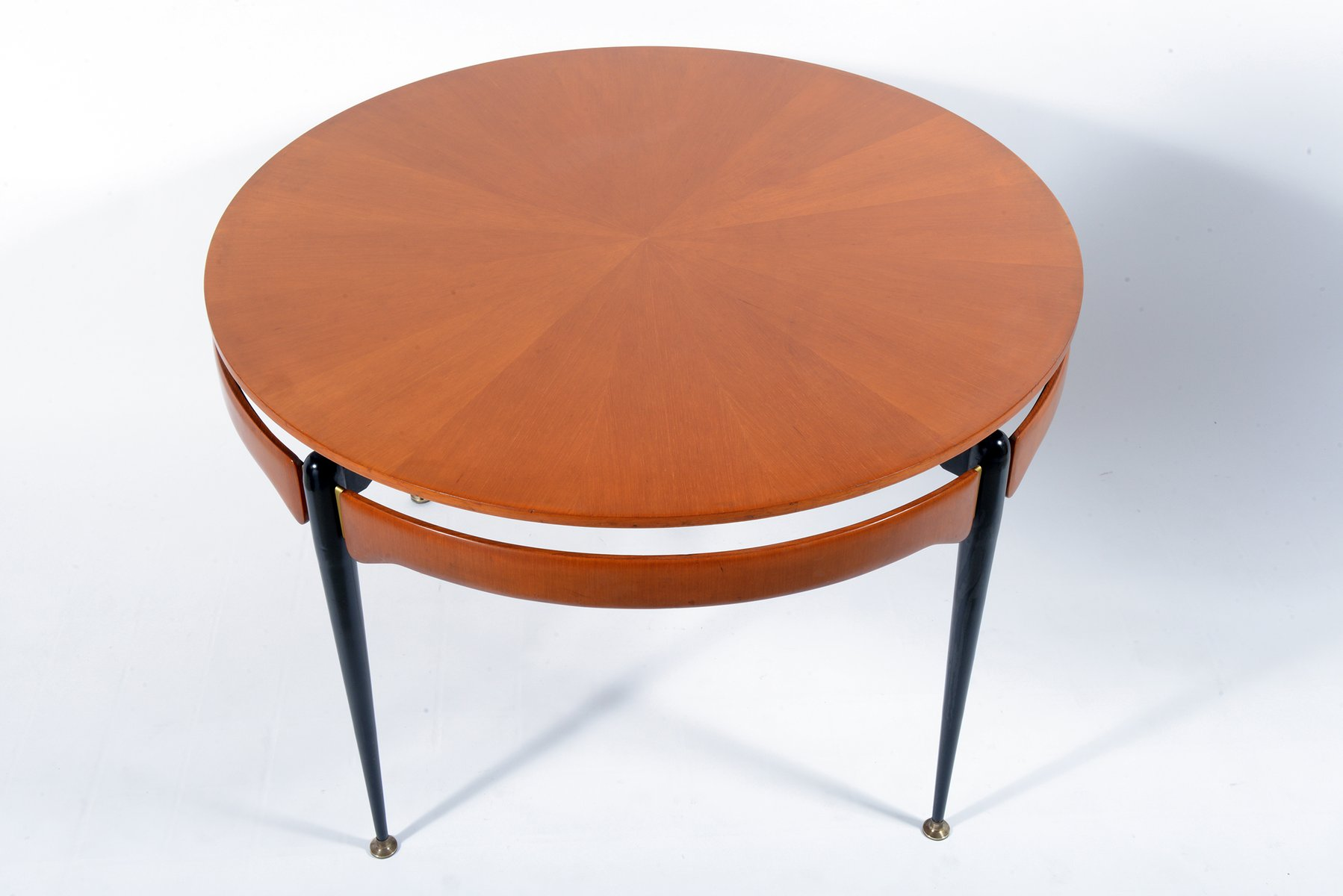Round Walnut & Black Metal Table 1960s for sale at Pamono