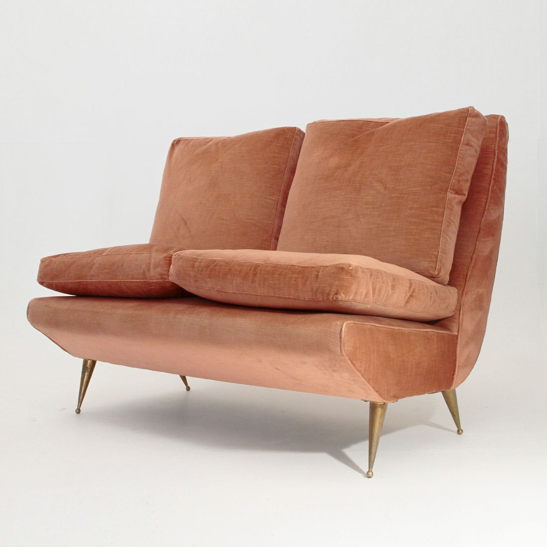 Italian 2 seater sofa with brass legs 1950s for sale at for Sofa zweisitzer