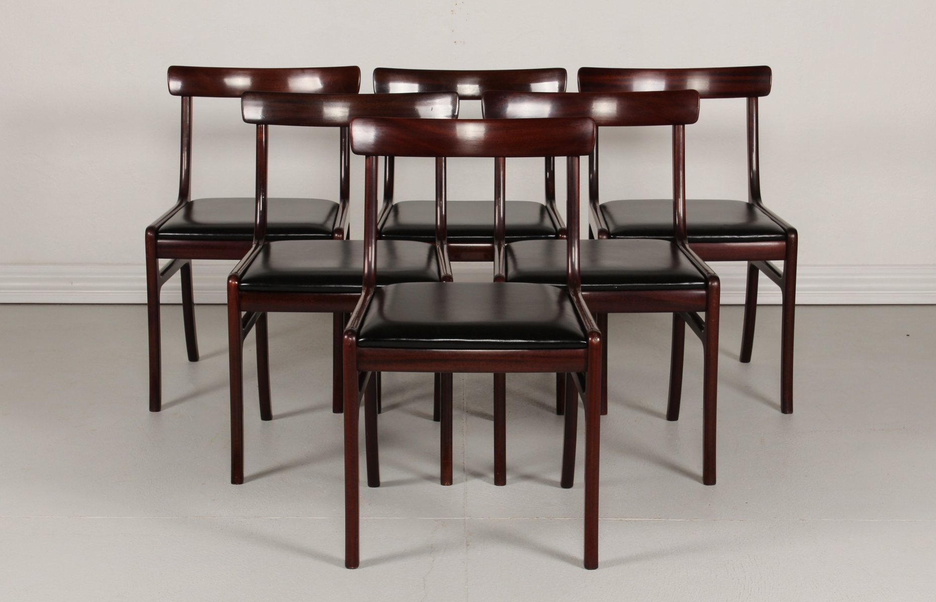 Vintage Danish Rungstedlund Mahogany & Leather Chairs by Ole