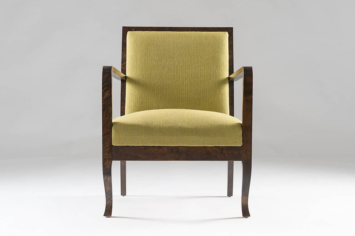 Art deco lounge chair in green for sale at pamono for Art deco style lounge