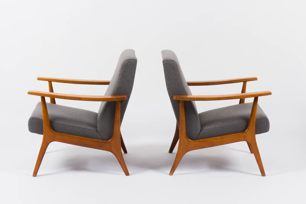 Armchairs from stella 1950 set of 2 for sale at pamono for Fauteuil eames rocking chair