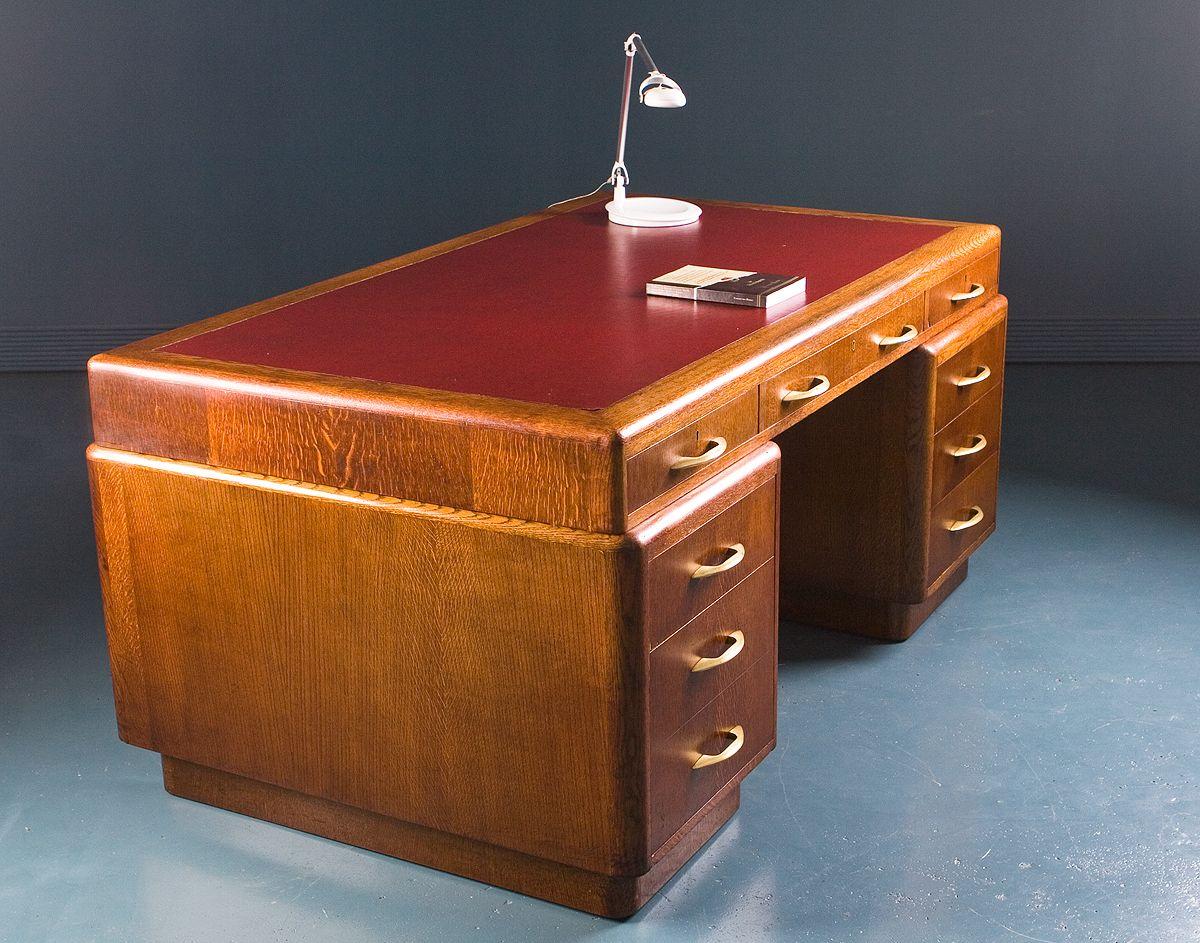 vintage british industrial oak art deco desk for sale at pamono. Black Bedroom Furniture Sets. Home Design Ideas
