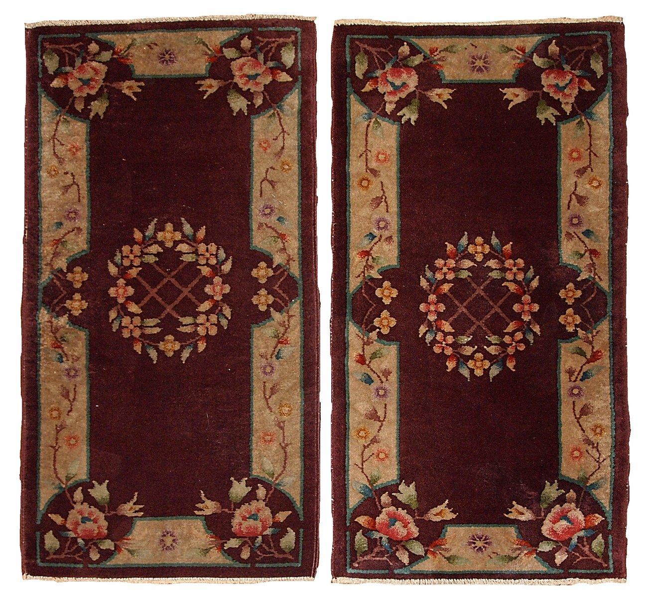 hangefertigte chinesische art deco teppiche 1920er 2er set bei pamono kaufen. Black Bedroom Furniture Sets. Home Design Ideas
