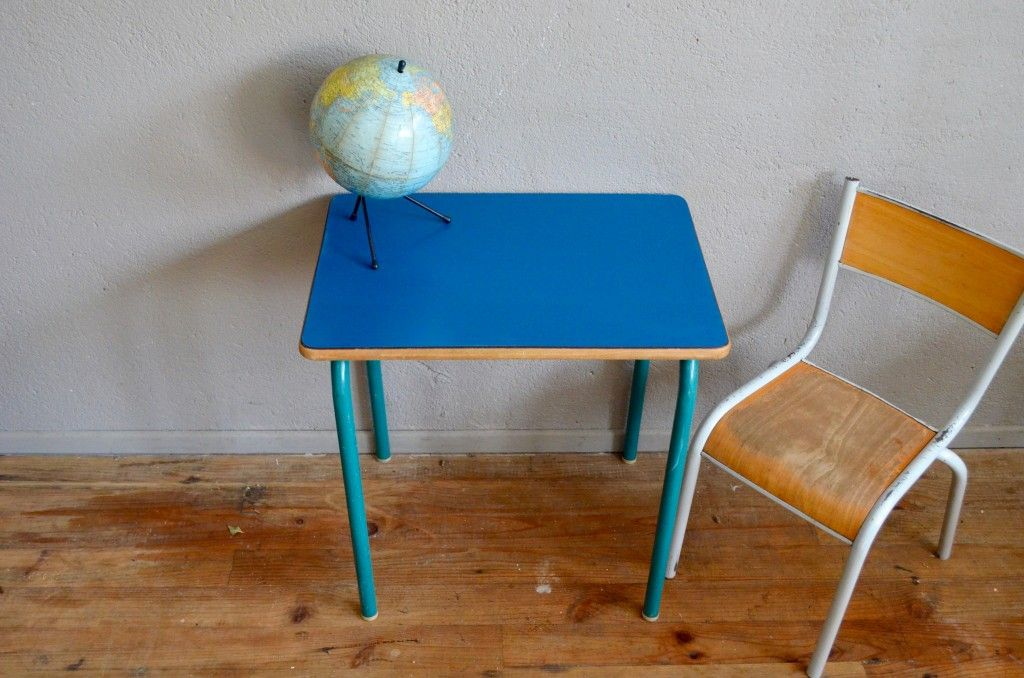 Blue School Chair school chair & desk in royal blue formica, 1960s for sale at pamono