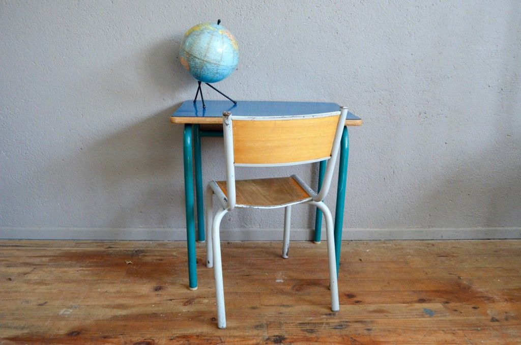 School chair desk in royal blue formica 1960s for sale for Chaise ecolier vintage