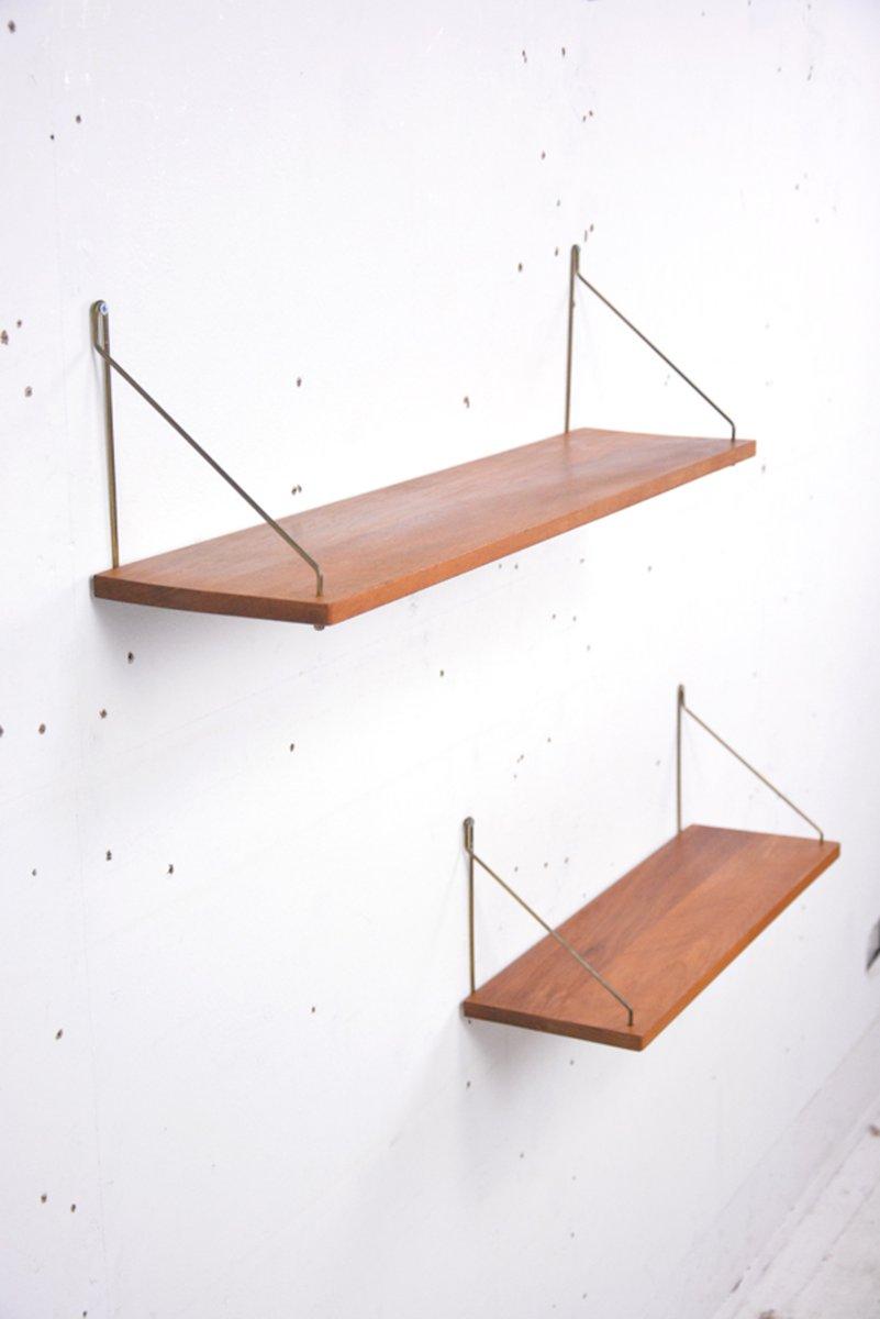 freistehende d nische vintage teak regale 2er set bei. Black Bedroom Furniture Sets. Home Design Ideas