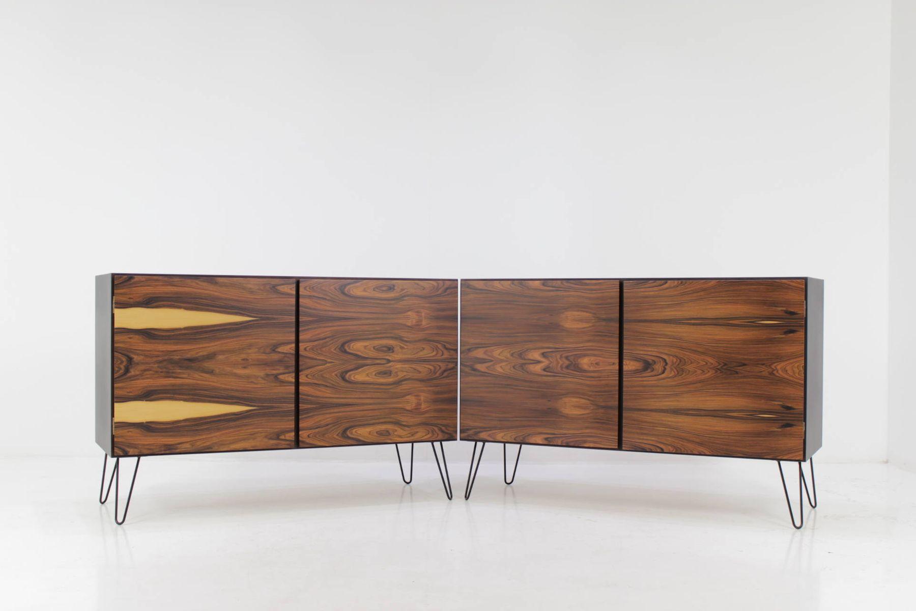 palisander sideboards on hairpin legs 1960s set of 2 for. Black Bedroom Furniture Sets. Home Design Ideas