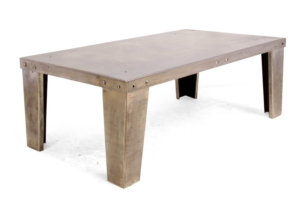 Industrial polished steel coffee table 1930s for sale at pamono Industrial metal coffee table