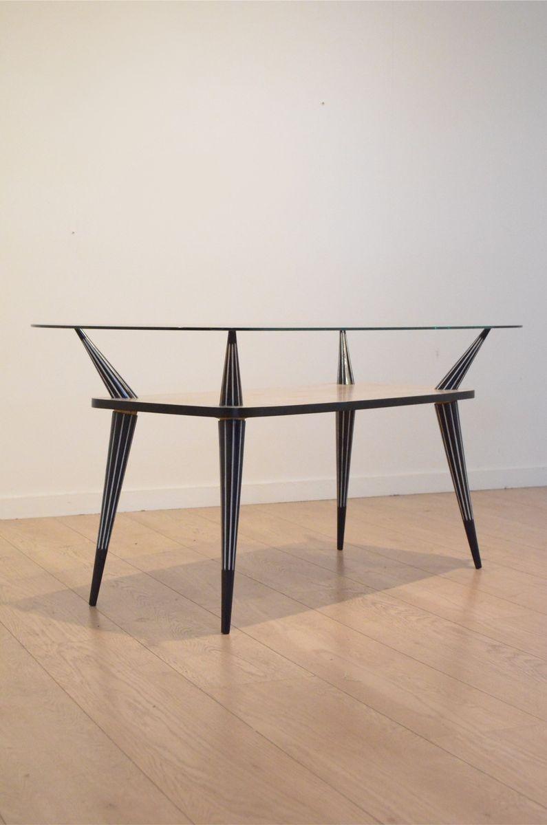 italienischer mid century couchtisch aus holz in schwarz. Black Bedroom Furniture Sets. Home Design Ideas